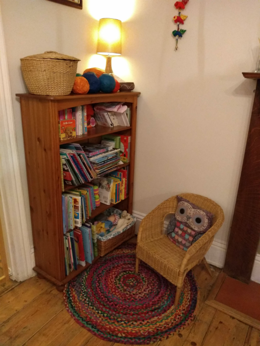 Reading corner in the playroom