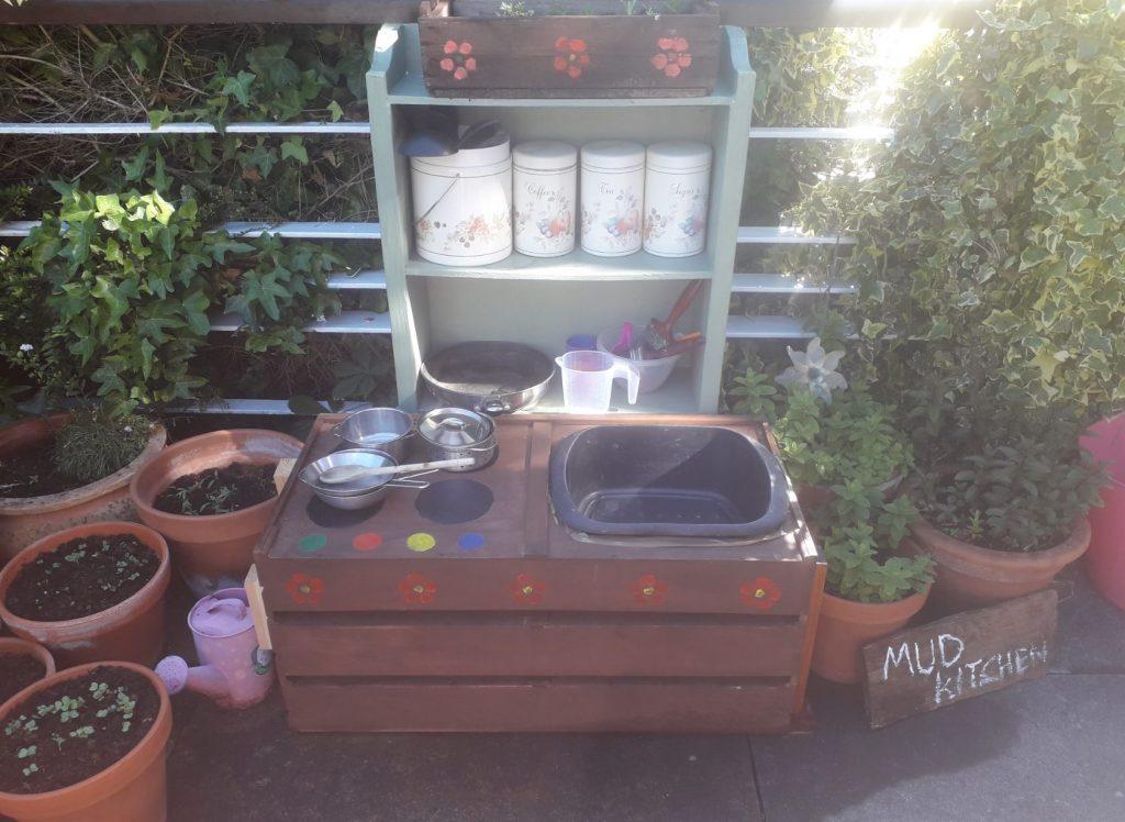 The mud kitchen in the garden